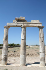 Ruins of ancient Hierapolis in Pamukkale Turkey