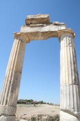 Ruins of ancient Hierapolis in Pamukkale Turkey