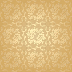 Seamless background flowers, floral - pattern. Gold(56).jpg