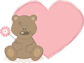 Teddy bear and big heart, vector illustration