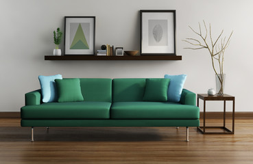 Modern interior, green sofa, frames table on wood floor