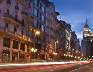 Gran via street, Madrid, Spain.