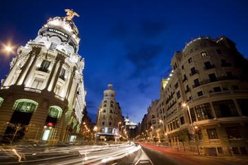 Gran via street, Madrid, Spain.