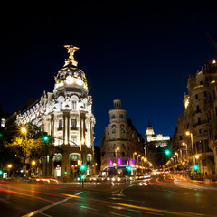 Keuken foto achterwand Madrid Gran via street in Madrid, Spain