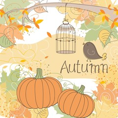 Deurstickers Vogels in kooien Autumn background, vector