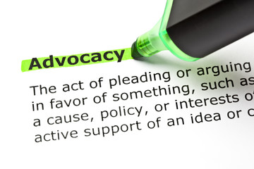 Dictionary definition of the word Advocacy highlighted in green