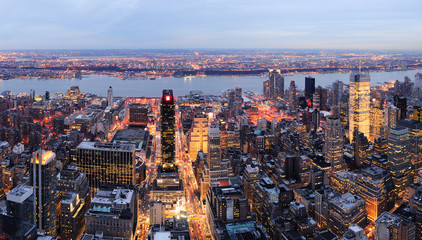 New York City Manhattan skyline panorama aerial view at dusk