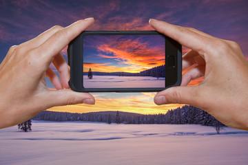 Winterfoto mit Handy