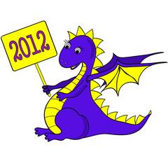 Funny dragon.  Cartoon.  Vector clip-art.