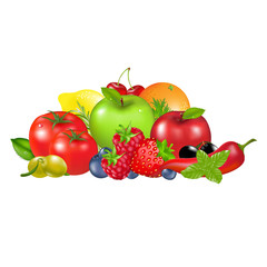 Fruits And Vegetables, Isolated On White Background, Vector Illu