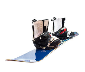 snowboard and boots isolated on white