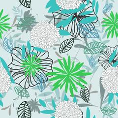 Tuinposter Abstract bloemen seamless floral pattern