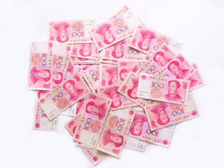 close up of a heap of chinese yuan
