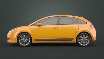 Yellow compact hatchback car on dark background