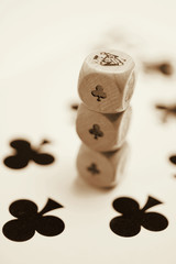 Stack of Dice on Playing Card