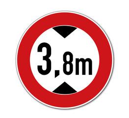 Verbot für KFZ über 3,8m Höhe einschl. Ladung