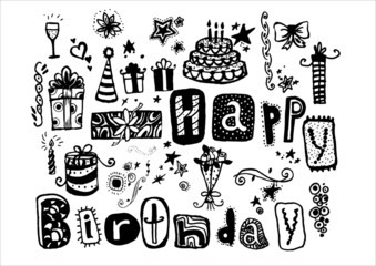 Doodle Happy Birthday. Many holiday elements. Hand drawn.