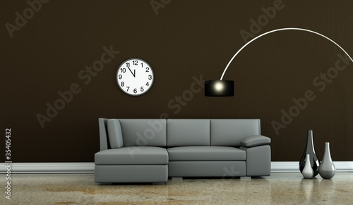 Wohndesign Graues Sofa Vor Brauner Wand Stock Photo And Royalty