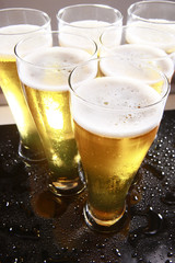 Cold beer in tall glasses