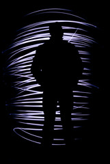 silhouette of a man with freezelight