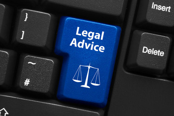 """""""LEGAL ADVICE"""" key on keyboard (scales of justice law)"""
