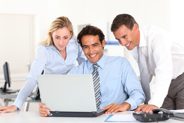 Cheerful business team in meeting