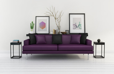 3d Modern interior, purple sofa, frames on white wood floor