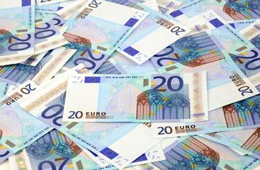 Mess background of 20 euro bills