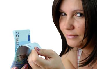 Brunette checking the euro money stock