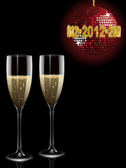 champagne and 2012 disco ball