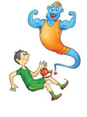 Happy sporty genie and man