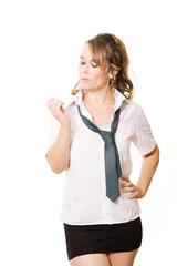 Woman as schoolgirl