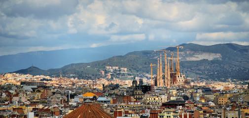 panorama of barcelona, rain, cathedral sagrada familia, spain