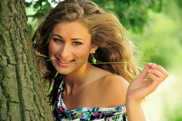 beauty, blond, girl, outdoor, smiling, women, young
