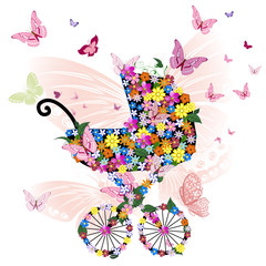 Poster Floral woman Stroller of flowers and butterflies