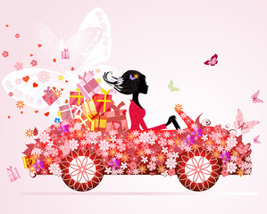 Foto op Plexiglas Bloemen vrouw girl on a red car with floral gifts