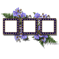 Summer flowers bouquet with frames for photo.