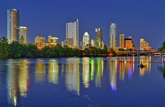 Austin skyline from the shores of Lady Bird Lake at twilight