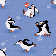 Penguins skating seamless pattern
