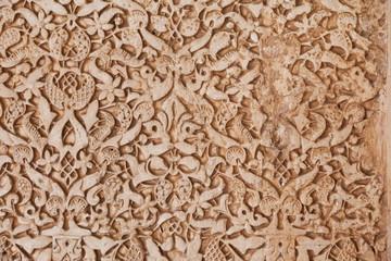 Fototapete - Alhambra de Granada. Arabic relief in Nasrid Palaces