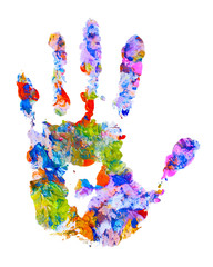 color hand print on white isolated
