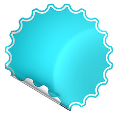 Blue bent round sticker or label