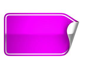 Magenta sticker or label on white