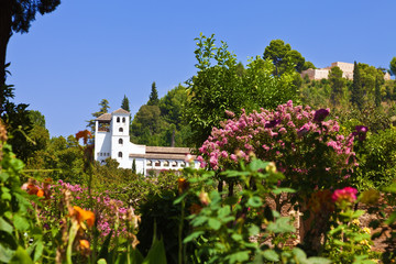Wall Mural - Alhambra de Granada. The Generalife over the gardens