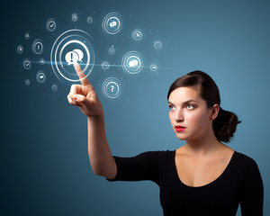 Businesswoman pressing modern social type of icons