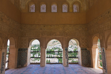 Wall Mural - Alhambra de Granada. Balcony in The Partal over the Albaicin