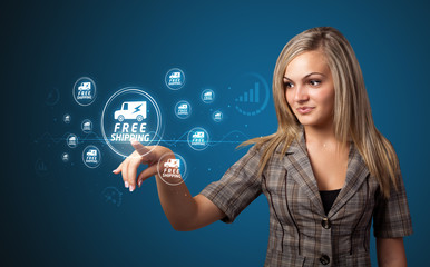 Businesswoman pressing virtual promotion and shipping type of ic