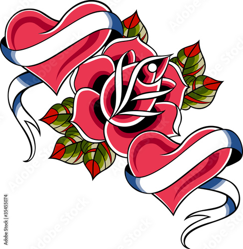 """Heart With Rose And Banner: """"heart And Rose Ribbon Banner"""" Stock Image And Royalty"""
