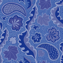 Blue seamless pattern with paisley