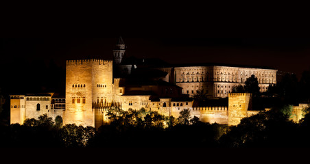Wall Mural - Alhambra de Granada, Nasrid Palaces at night. 10571x5616 p.